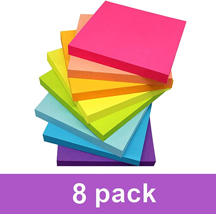 Sticky Notes 3x3 Inches,Bright Colors Self-Stick Pads, Easy to Post for Home, Office, Notebook, 8 Pads/Pack