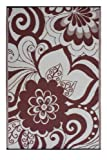 Fab Habitat Maui Recycled Plastic Rug,  Cranberry Red & Cream, (6' x 9')