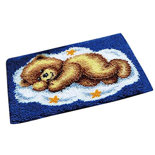 Latch Pillow Bear Hook (SM SunniMix Bear Latch Hook Rug Kits DIY Pillow Mat Rug Making for Kids Adults Beginners 50x40cm)