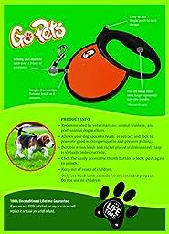 GoPets Retractable Leash, 45-Pound/13-Feet, Orange, 1-Pack