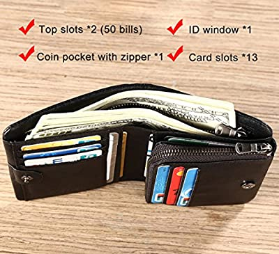 Leather Trifold Extra Capacity Wallet For Men With Zipper Coin Pocket