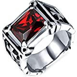 Men's Vintage Large Crystal Stainless Steel Dragon Claw Cross Ring Band Gothic Biker Knight Silver Red