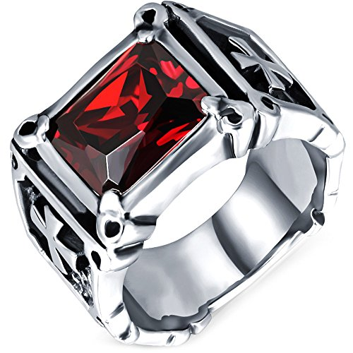 Men's Vintage Large Crystal Stainless Steel Dragon Claw Cross Ring Band Gothic Biker Knight Silver Red Size 9