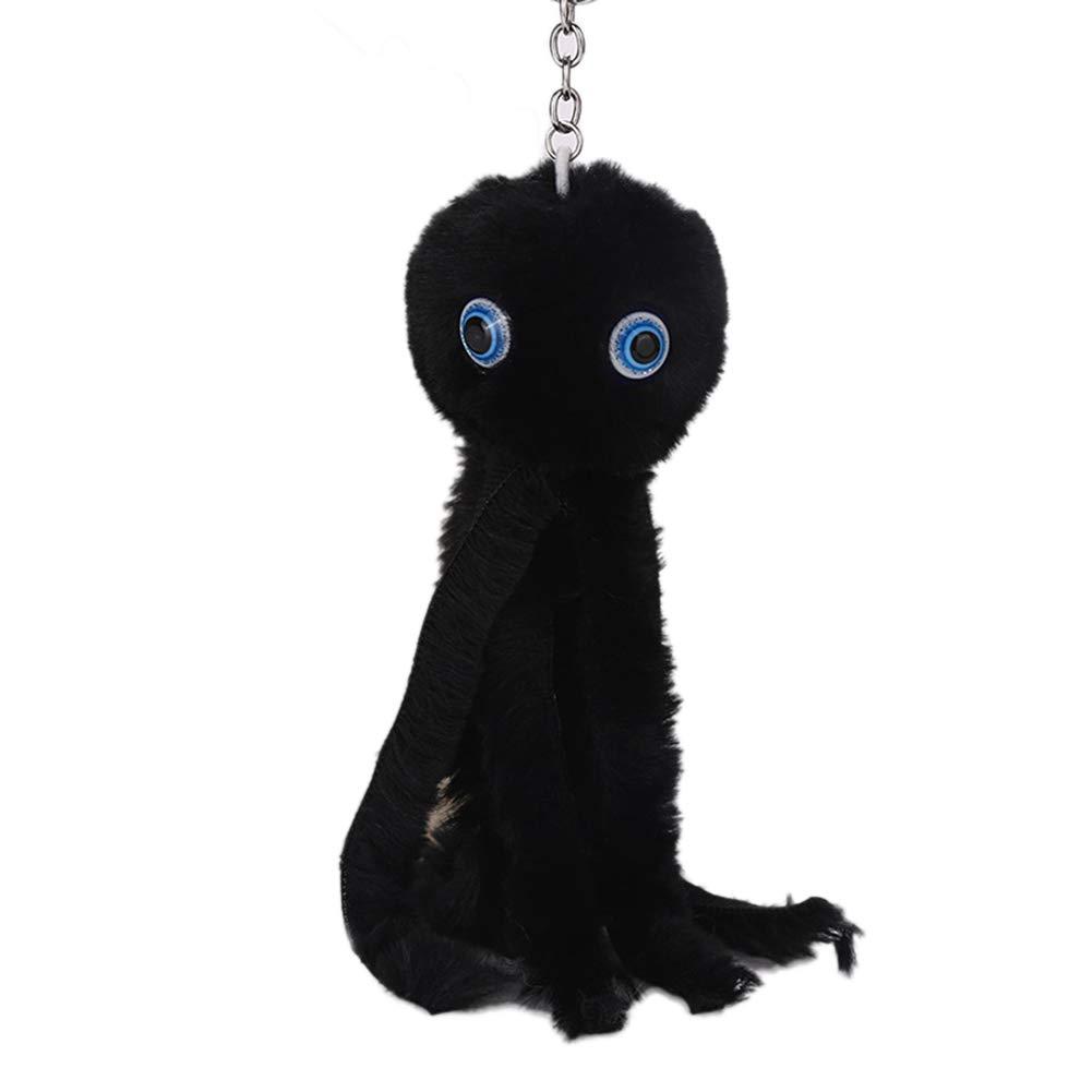 Shineweb Lovely Octopus Long Legs Pom Pom Ball Key Chain Key Ring Keyring Keyfob Handbag Pendant Keychain Charm Black