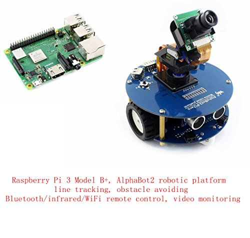 (Pzsmocn Raspberry Pi Robot kit Contain Raspberry Pi 3 Model B+,Third Generation Pi,AlphaBot Robotic Platform,Obstacle Avoiding, Bluetooth/infrared/WiFi Remote Control,video Monitoring.)
