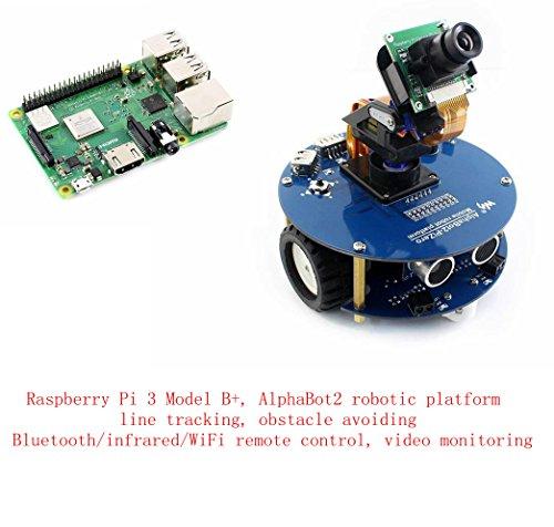 Pzsmocn Raspberry Pi Robot kit Contain Raspberry Pi 3 Model B+,Third Generation Pi,AlphaBot Robotic Platform,Obstacle Avoiding, Bluetooth/infrared/WiFi Remote Control,video Monitoring.