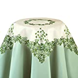 Embroidered Irish Clover Table Linens with Gorgeous Green Shamrock Detailing - Perfect for St. Patrick's Day, Square