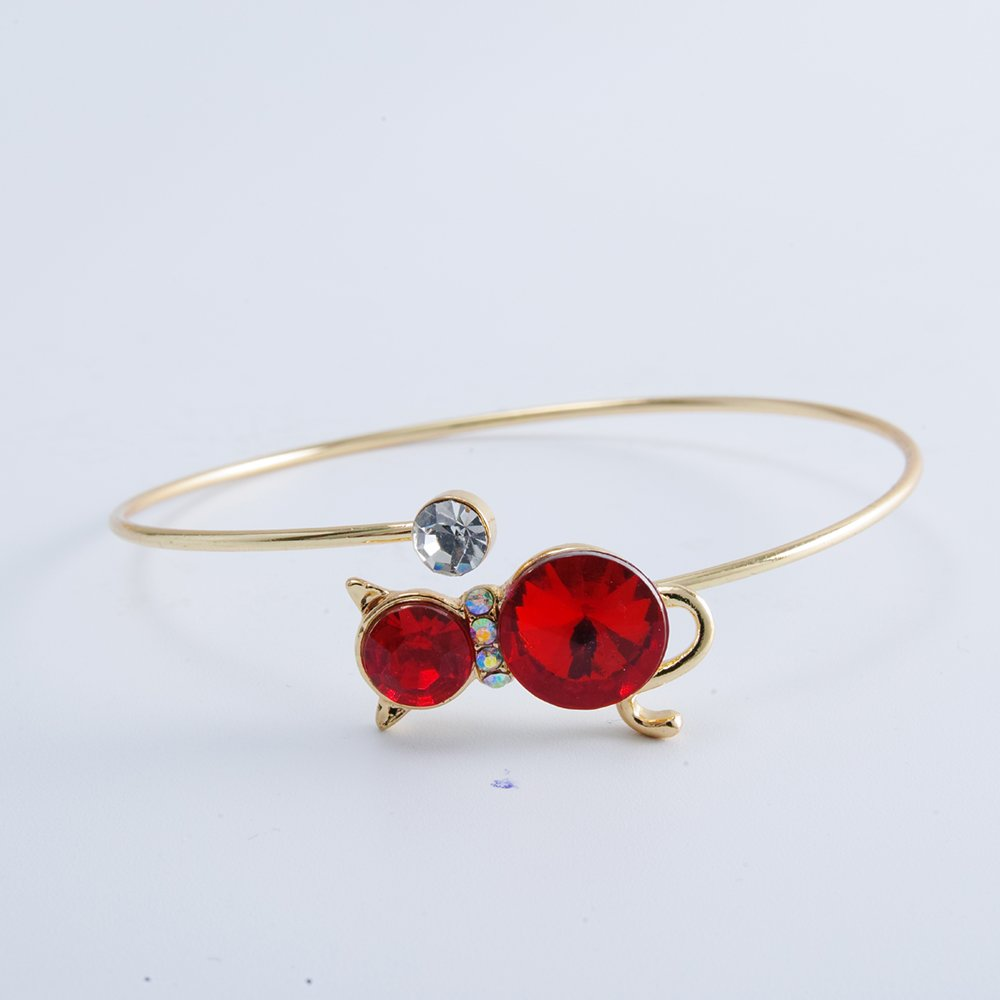TUSHUO3 Colors Red Crystal Cat Opening Bracelet Cute Cat Bangle Best Gift for Women and Girls