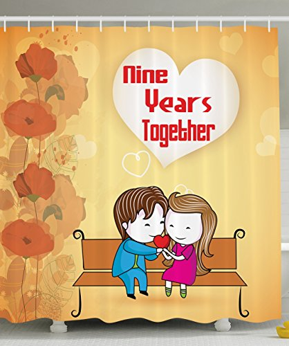 9th Anniversary Gifts Nine Years Together Celebration Happy Couple Fall Season Trees Leaves Home Decorations Bathroom Decor Fabric Shower Curtain Orange Fuchsia Blue Brown