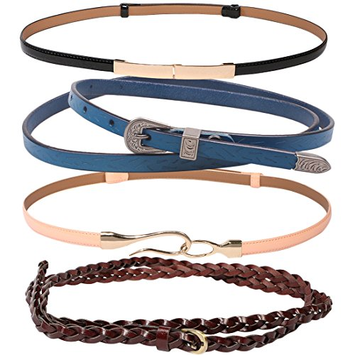 kilofly 4pc Women's Genuine Leather Adjustable Thin Skinny Belt Waistband Set