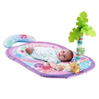 Pink Children Play Mat With Included Palm Tree and Yellow Plush Star