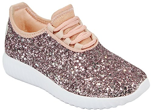 Kids Girls Pink Fashion Metallic Sequins Glitter Lace up Light Weight Stylish Sneaker Shoes-1
