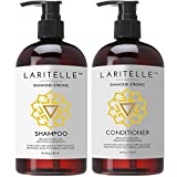 Laritelle Organic Shampoo 17 oz + Conditioner 16 oz | Prevents Hair Loss, Promotes Hair Growth | Argan Oil, Rosemary, Ginger & Cedarwood | NO GMO, Sulfates, Gluten, Alcohol, Parabens, Phthalates