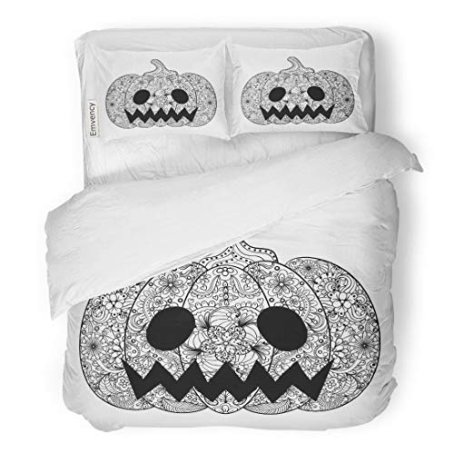 Tarolo Bedding Duvet Cover Set Pumpkin Helloween Vegetable in Zentangle Tribal Totem for Tattoo Adult Coloring Page High Details 3 Piece Twin 68