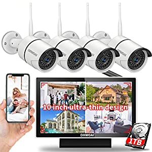 【Digital Video Recorder】 Monitor Security Camera System,8 Channel 1080P NVR Home Surveillance Video Security System,4Pcs…
