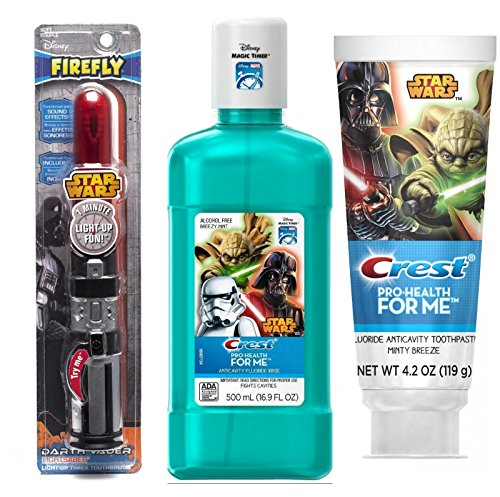 Firefly Light-Up pOWER Toothbrush - Star Wars (Darth Vader) + Crest Pro-Health Disney Star Wars Kids Minty Breeze Toothpaste, 4.2 Oz + Crest® Pro-Health Jr., Disney Star Wars Anti-Cavity Fluoride Rinse, Breezy Mint, 500 mL bottle (Toothbrush Kids Jr)