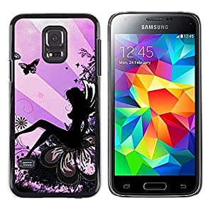 LECELL--Funda protectora / Cubierta / Piel For Samsung Galaxy S5 Mini, SM-G800, NOT S5 REGULAR! -- Lady Butterfly Ink Woman --
