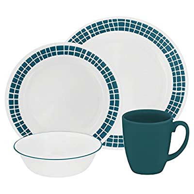 """Corelle Livingware 16-Piece Dinnerware Set, Aqua Tiles, Service for 4 - Service for 4 includes: 4 each 10-1/4"""" Dinner Plates, 6-3/4"""" Bread and Butter Plates, 18-Ounce Soup/Cereal Bowls, 11-Ounce Stoneware Mugs Made with break and scratch resistant patented Vitrelle glass technology Space saving design: lightweight and thin, yet extremely durable - kitchen-tabletop, kitchen-dining-room, dinnerware-sets - 51wl eeAR5L. SS400  -"""