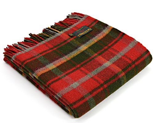 (Tweedmill Tartan Throw Blanket - Pure New Wool (Dark Maple))