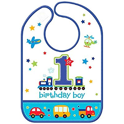 """All Aboard Boy"" Vinyl Baby Bib, Birthday: Toys & Games"
