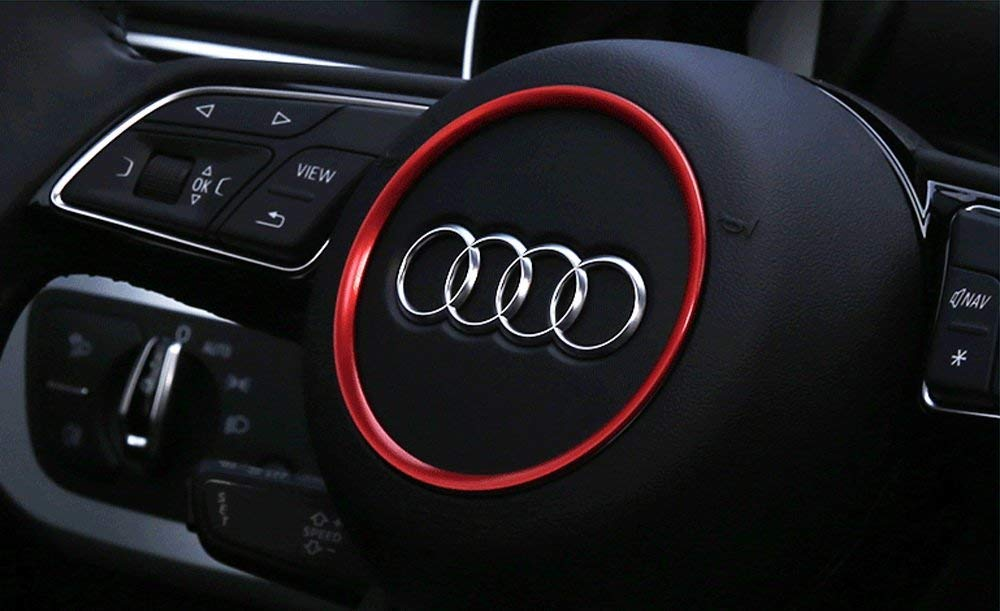Blue Aluminum Steering Wheel Center Decoration Ring Cover Trim For Audi A3 A4 A5 A6 TT S3 S4 S5 S6 Round Shape Center Emblem 1 iJDMTOY