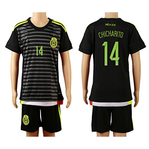 12031bdc8 2015 16 Mexico Black (Home)  14 Chicharito Javier Hernandez Football Soccer Kids  Jersey   Shorts lovely