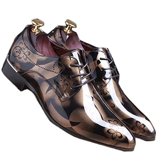 Better Annie Vintage Design Men's Fashion Print Plus Size Patent Leather Business Dress Shoes Mens Casual Lace-up Flats EUR Size 38-48 Brown 10
