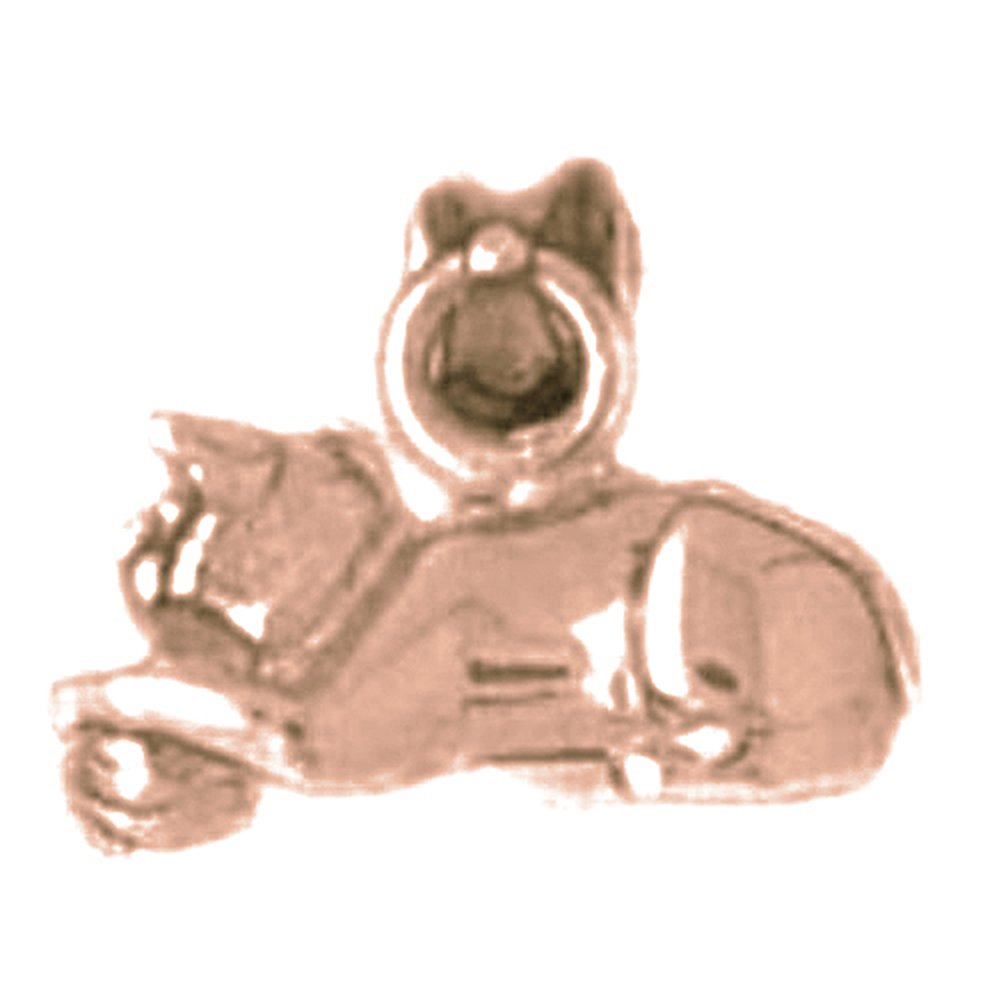Rose Gold-plated Silver 10mm Cat Pendant
