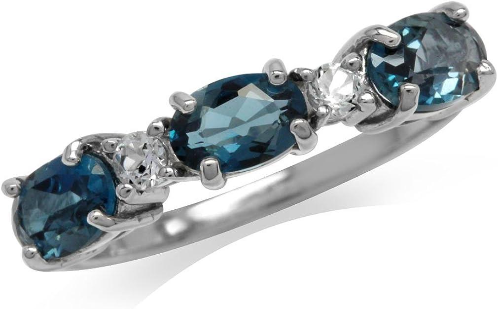 1.74ct Genuine London Blue /& White Topaz 925 Sterling Silver Ring