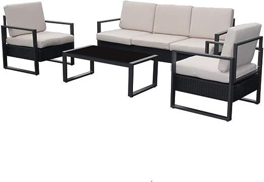 Salón de jardín con 1 sofá de 3 plazas + 2 sillones + 1 mesa baja.: Amazon.es: Jardín