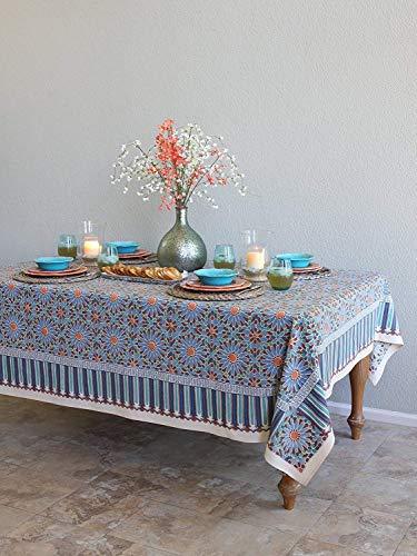 - Saffron Marigold Mosaique Bleue Daisy Floral Tablecloth | Mosaic Moroccan Tile Medallion Print | Rectangle Hand Printed Indian Romantic Elegant Tablecloth 70 x 108