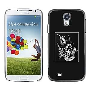 LECELL--Funda protectora / Cubierta / Piel For Samsung Galaxy S4 I9500 -- Grey Top Hat Guns Rock Roll Metal --