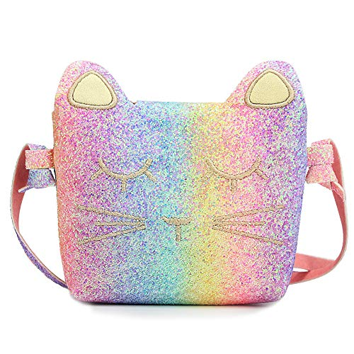 CMK Trendy Kids Kids Cat Purse for Little Girls Toddlers Crossbody Handbag Purses (Glitter Rainbow), Mini ()