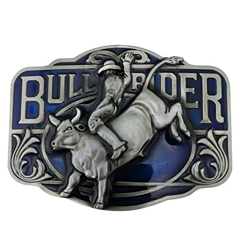 Lanxy Western Cowboy Cool Bull Rider Rodeo Belt Buckle For Men Blue Enamel