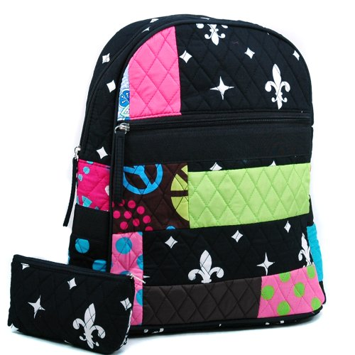 dasein-womens-patchwork-quilted-backpack-w-convertible-shoulder-straps-black-white