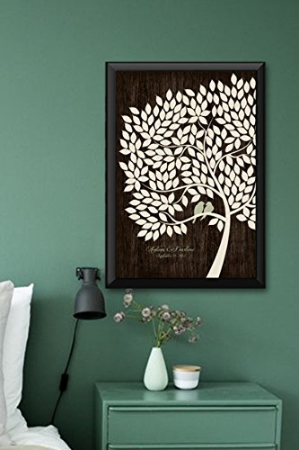Wedding Guest Book Alternative Poster Bridal Gift Signing Tree with 200 leaves -