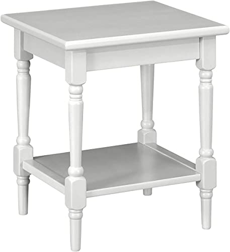 MUSEHOMEINC Wood Simple Style End Table, with 1 Storage Shelf,Lathe-Turned Spindle Legs,Side Table for Small Spaces,for Living Room, Entryway,Grey Finish