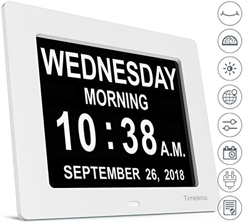Digital Time Clock (INNOCLOCK - Most Advanced - Superior Quality - Calendar Day Digital Clock - Large, Clear, Unabbreviated Time and Date - Ideal for Memory Loss, Impaired Vision and Seniors (White, 8-inch))