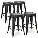 Best Choice Products 24in Set of 4 Stackable Modern Industrial Metal Counter Height Bar Stools – Bronzed Black