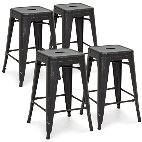 Best Choice Products 24'' Set of 4 High Backrest Industrial Metal Counter Height Stools (Bronzed Black) by Best Choice Products