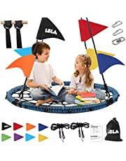 """40"""" Spider Web Tree Swings Sets Kids Net Round Mat Swings with Accessories-70 Adjustable Hanging Rope,8 Colored Flags,360° Rotate Carabiner Platform Swings Seat for Boys Girls Outdoor Park Backyard"""