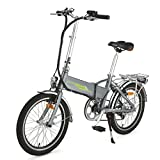 ONWAY 20 Inch 6 Speed Folding Electric Bicycle, Built-in Lithium Battery, 250W Brushless Motor, White