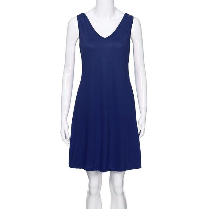 JYC Verano Falda Larga, Vestido De La Camiseta Encaje, Vestido Elegante Casual, Vestido Fiesta Mujer Largo Boda, Mujer Verano Sólido Cuello en V Bolsillo ...