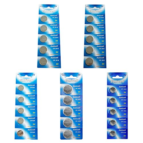 Eunicell (Total 25 pcs) CR2032 CR2450 CR1620 CR1632 CR2016 Lithium Blister Assorted 3V 3 Volt Coin Cell ()