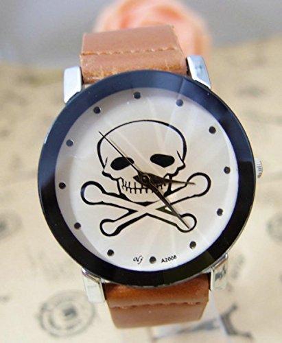 LNTGO Holiday Sale New Arrive Cool Skull Leather Watch Women Ladies Fashion Dress Quartz Wrist Watch Olj-6