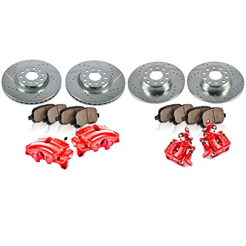 - FRONT + REAR Powder Coated Red [4] Calipers + [4] Rotors + Quiet Low Dust [8] Ceramic Pads Performance Kit
