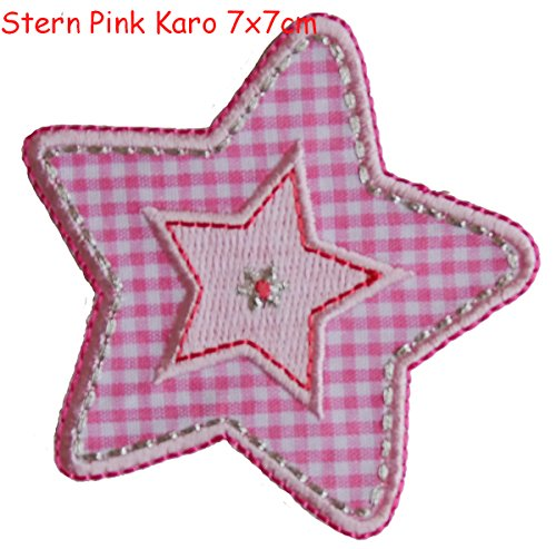 - 2 iron on patches Star Pink diamonds 7x7 and Bird Strauss - embroidered fabric appliques set by TrickyBoo Design Zurich