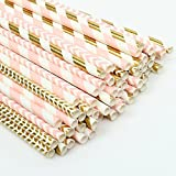 ZOOYOO Paper Straw 100pc For Parties,Birthdays,Weddings,Baby Showers And Celebrations (Pink/Gold)