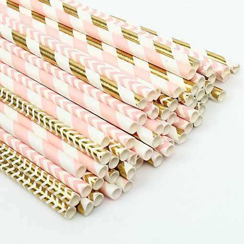 ZOOYOO Paper Straw 100pc For Parties,Birthdays,Weddings,Baby Showers And Celebrations (Pink/Gold) ()