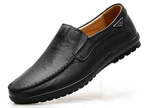 VanciLin Men's Casual Leather Fashion Slip-on Loafers Shoes(V228Black43)